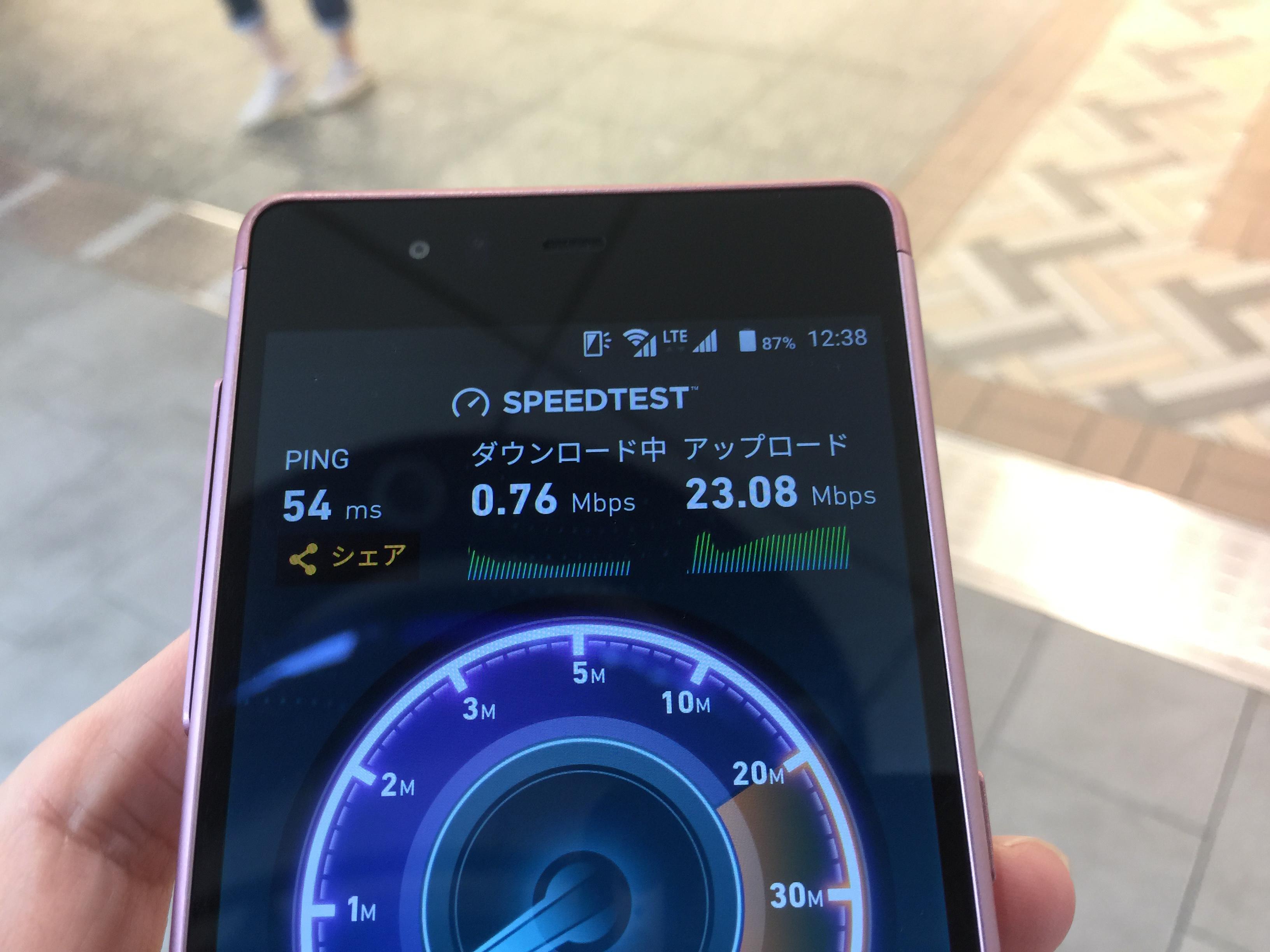 IIJmioの通信速度を測定