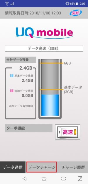 uqモバイルでデータチャージ
