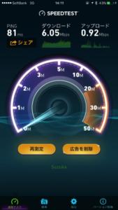 3Gのスピードテスト