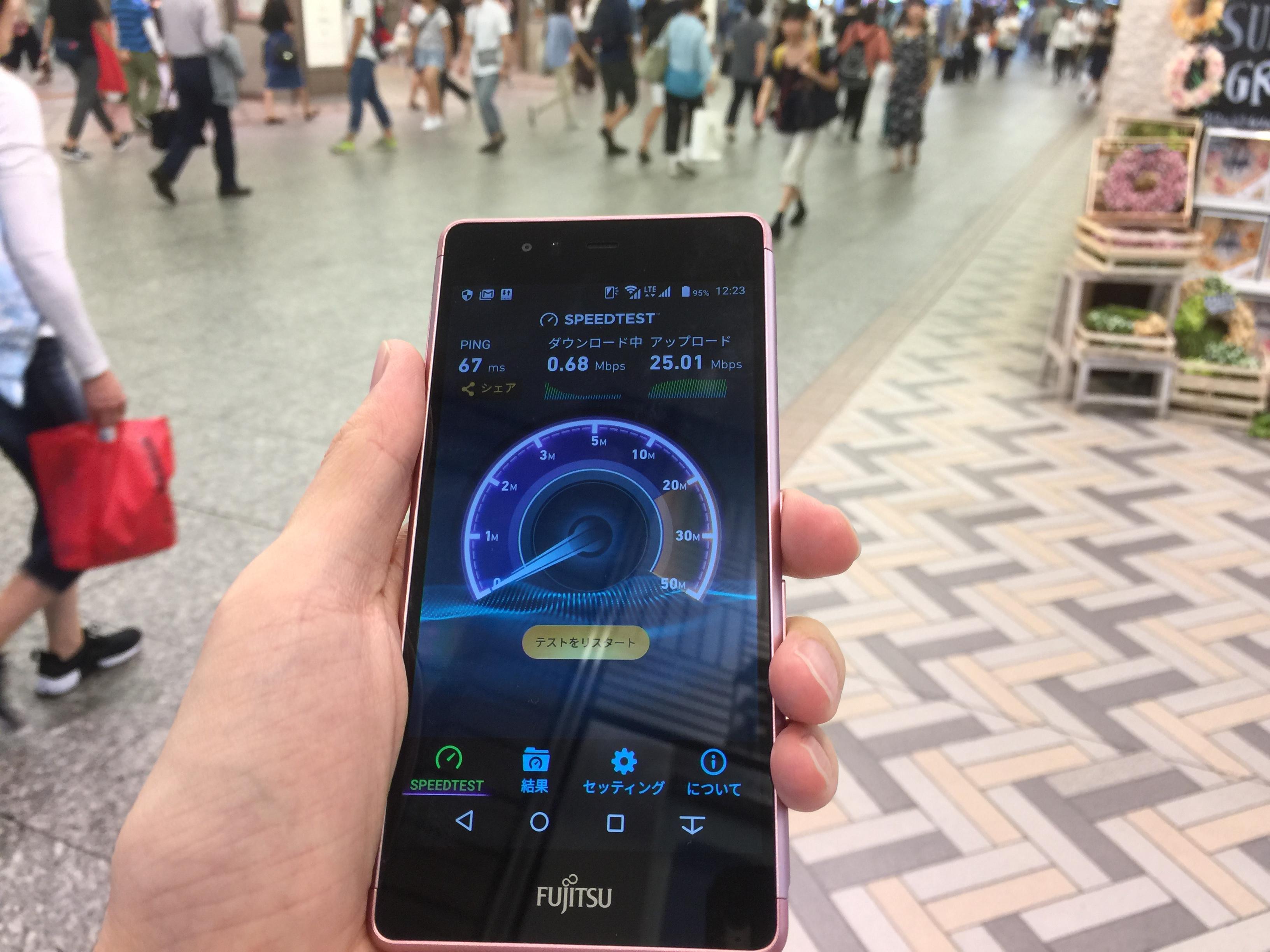 OCNモバイルONEの通信速度 正午