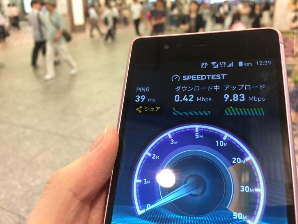 biglobe simの通信速度測定