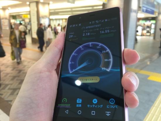 楽天モバイルの速度測定