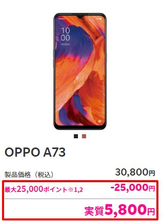 OPPO A73のポイント還元