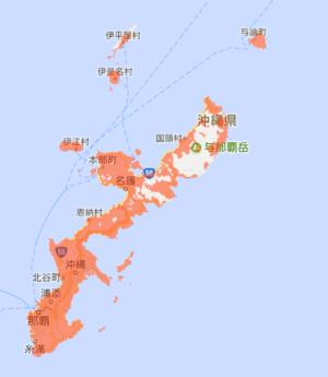 沖縄のUQモバイルサービスエリア