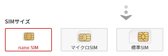 SIMサイズ nanoSIM