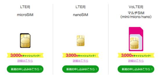SIMカードサイズの選択