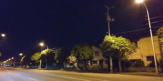 夜道を撮影