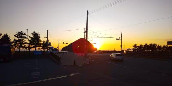 朝日を撮影