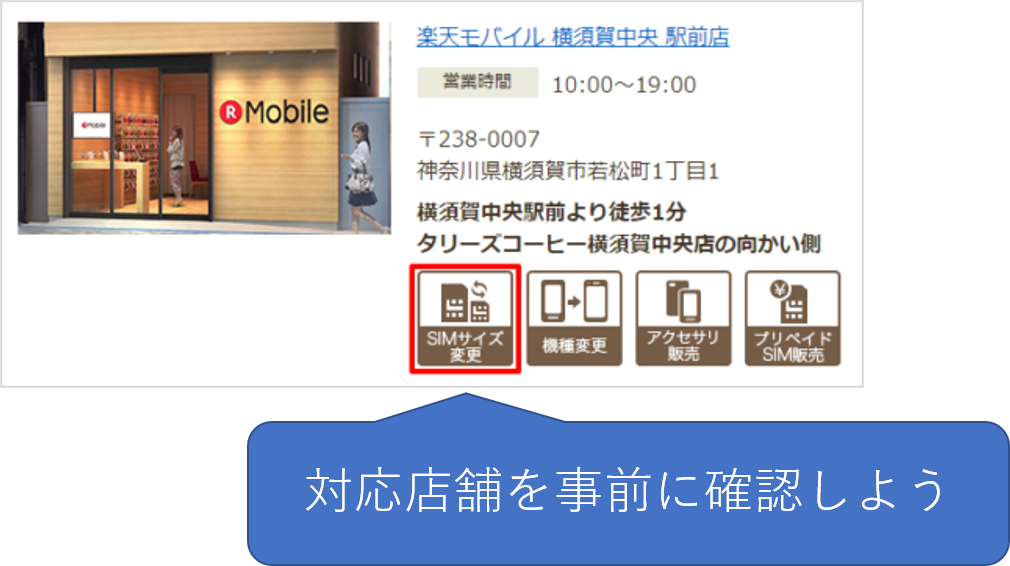 SIMサイズ変更の対応店舗